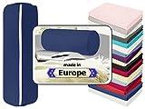 Nackenrolle in 3 verschiedenen Qualitäten oder Jersey-Kissenhülle für Nackenrollen in 17 Farben - 100% Mako-Baumwolle - Einheitsgröße ca. 40 x 15 cm, Bezug in marine