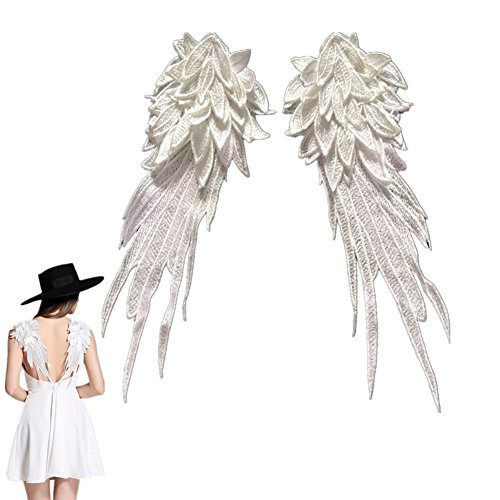 ickte Aufnäher Flügel Patches Nähen Patch Sticker Applique Badge für Kleid Hut Schuhe Jeans DIY Kostüm Schmücken 1 Paar (Weiß, S) (Diy Kostüm Flügel)