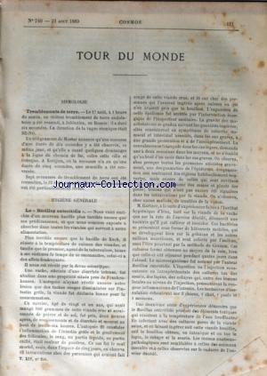 COSMOS TOUR DU MONDE [No 240] du 31/08/1889 - TREMBLEMENTS DE TERRE - LE BACILLUS ENTERITIDIS - LIEWELLYN-PARK PRES D'ORANGE - NEW YORK / RESIDENCE DE EDISON