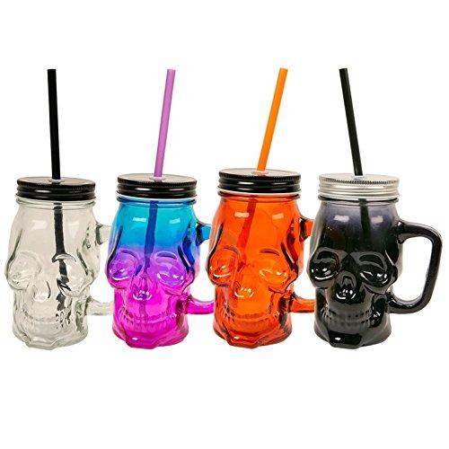 Asab Spooky Halloween Glas Totenkopf Jar mit Griff Farbige Trinkhalm Deckel Neuheit Punch Cocktail Deko Party 4Stück zufällige (Cocktails Spooky Halloween)