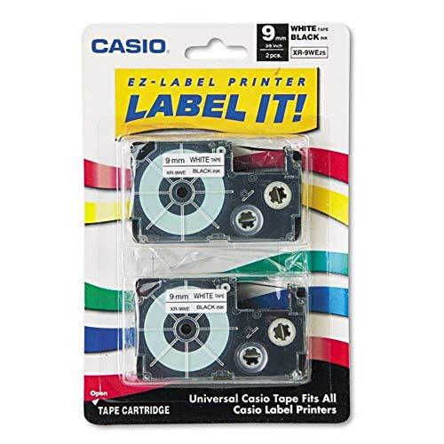 Casio 2 x 9 mm Etiketten-Druckerkartusche schwarze Schrift auf weißem Band
