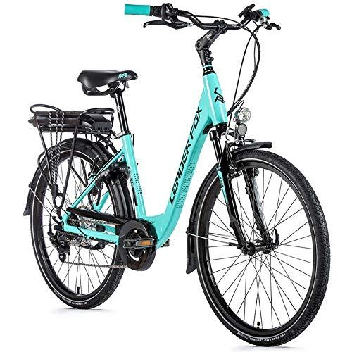 26 Zoll Leader Fox E Bike Damen Elektro Fahrrad 36V Pedelec 576Wh Shimano 7 Gang türkis