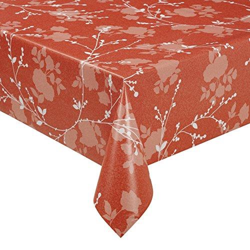 Wachstuch LFGB MILANO Lux Terra Breite & Länge wählbar abwaschbare Tischdecke Eckig 140 x 50 cm (Orange-blumen-tischdecke)