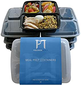 Meal Prep Containers + Amazing free Giveaway–Ultimate Diet guide.–Confezione di 7–3vano; riutilizzabile, Freezable & Microwaveable Storage containers- BPA-free, controllo della parte plastica contenitori alimentari