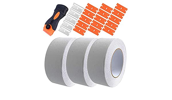Use Indoor and Outdoor Skid Tape Roll 5cm x 10M, Black and Yellow Gebildet 3PCS Anti-Slip Safety Tape High Traction Strong Grip Abrasive Residue Free Adhesive