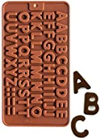 Syga Silicone Alphabets Shape Chocolate, Jelly, Candy, Cake Baking Mould, Standard Size, Brown