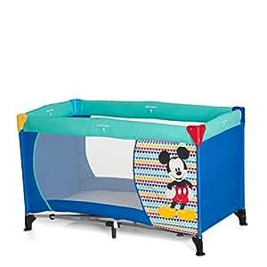 Hauck / Dream N Play / Lit Parapluie / multifonction / 3 parties / 120 x 60 cm / naissance à 15 kg / avec matelas, sac de transport / pliable, transportable, léger, inversable / Mickey Geo Blue (Bleu)