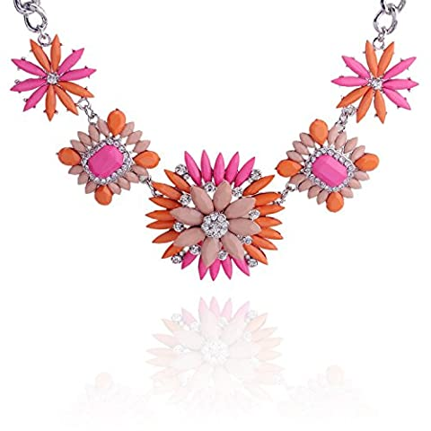 lureme Luxus Träne Harz Steinanhänger und Strass-Metallic Silber Kette Bejeweled Statement Kette für Frauen 01001832