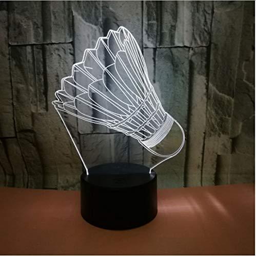 Badminton 7 farbwechsel 3d lampe fernbedienung touch switch leuchten für baby zimmer lichter led nachtlicht 13 * 19 cm