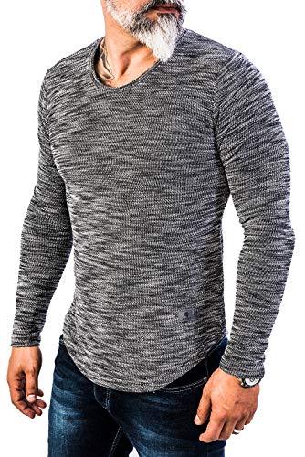 Rock Creek Herren Longsleeve Shirt Langarm Hoodie Sweatshirt Kapuzenpullover Langarmshirt Herrenpulli Street Style H-144 Anthrazit XL