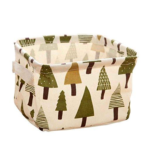 meisijia Baumwollmischungs-Leinen-zusammenklappbarer Vorratsbehälter-Korb-Wäschebox mit Totes-Kasten Kiefer (Leinen Kiefer)