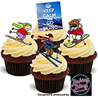 12 x Keep Calm Go Skiing Ski Mix - Fun Novelty Birthday PREMIUM STAND UP Edible Wafer Card Cake Toppers Decoration
