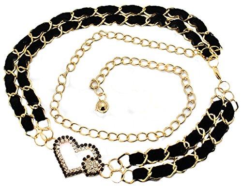 BONAMART ® Damen Metall Dünn Skinny Belt Gürtel Adjustable Kettengürtel Strass Love Herz 110cm