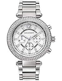Mujer Relojes, Lananas Retro Lujoso Anillo Doble Diamante de imitación Elegante Relojes de