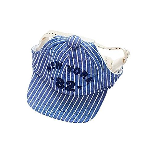 Kleine Frische Gestreifte Baseball Mütze Für Hund Im Freien Zubehör - Blau, S