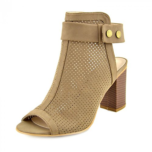 Kick Footwear Womens Ladies Block Heel Open-Toe Cut Out Back Klettverschluss Knöchel Stiefel - UK 7/EU 40, Taupe - F10522