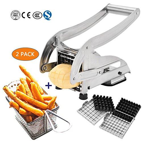Edelstahl Fry Cutter Mit 2 Austauschbaren Klingen, Saugbasis. + Mini Chip Baskets Küche Edelstahl Fritteuse Serving Food Presentation Basket,02