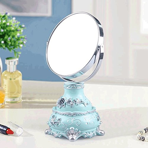 Miroirs Mini Double-Face Maquillage Tableau Portable Vanity Bureau-Taille Princesse Mode Creative Belle Belle Pastorale Style Déesse Accueil Amélioration (Couleur : Bleu)