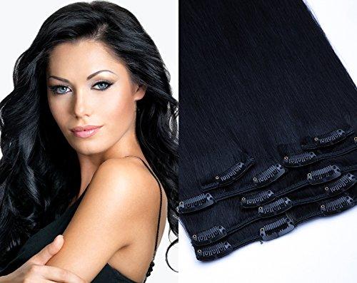 Remy Clip In Extensions Set 100% Echthaar 7 Teilig 70 Gramm 40cm Hochwertige Haarverlängerung und Haarverdichtung Länge Clip-In Hair Extension Nr. 1 Schwarz