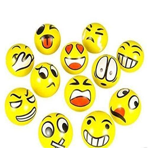 Lalang Antistressball Emoji mit lustigen Gesichtern Squeeze Ball - 12 Stk. - Stress-bälle Emojis