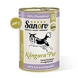 Sanoro Känguru pur 100% Muskelfleischanteil, salzfrei - Hundefutter in Lebensmittelqualität - 12 Dosen mit je 400 g Inhalt - Hypoallergen - singleprotein - kann bei Ausschlußdiäten eingesetzt Werden
