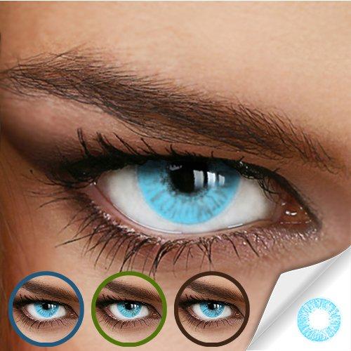 Hellblaue Jahres-Kontaktlinsen Naturally SWEET AQUA - MIT und OHNE Stärke in Light-Blue - von LUXDELUX® - ohne Stärke (+/- 0.00 DPT) - 2