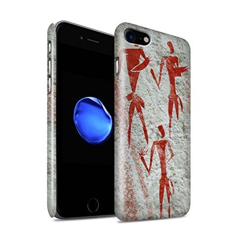 STUFF4 Glanz Snap-On Hülle / Case für Apple iPhone 8 / Jäger/Braun Muster / Höhlenmalerei Kollektion Sammler/Rot