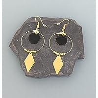 Gioielli in oro e nero con orecchini creoli, gioielli da donna, creoli dorati, gioielli in oro, gioielli da regalo, regali da donna, gioielli da donna
