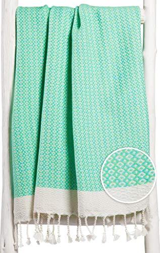 Zusenzomer telo mare fouta xl diamant 95x190 verde y turchese - asciugamano hammam lussuoso - telo mare turco cotone leggero - fouta teli mare disegno esclusivo