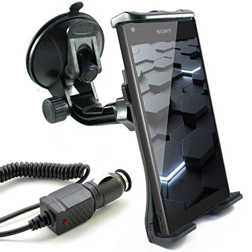 KFZ Halterung inkl. Auto Ladekabel für SONY Xperia Z5 / Z5 Premium / Z5 Compact / Z3 / Z3 + Plus / Z3 Compact / Z2 / Z1 / Z1 Compact / Z / Z Ultra / E5 / XA / X / M5 / X Performance / ZL / E / SP / L / T2 Ultra / M2 / E1 / style / M2 Aqua / E3 / E4g / M4 Aqua / Windschutzscheibe schwarz