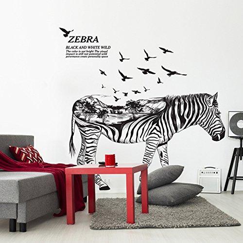 Weaeo Schwarz Und Weiß Wild Zebra Wall Sticker 3D-Kreative Wald Tier Zebra Wand Aufkleber Für Wohnzimmer Schlafzimmer Kinderzimmer Dekor Kunst (Land-dekor-wand-kunst)