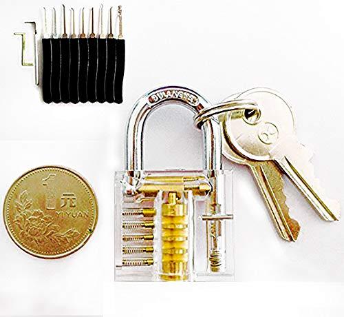 Lockpicking Set picking Dietrich Set Blau Mit Transparent Schloss (Set-taste Lock Pick)