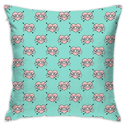 guolinadeou Beautifully Decorated Home (34 Scale) Mom Heart Tattoo - Pink On Teal C19BS Throw Pillow Case 18X18 Inches (Heart Mom-tattoo I)