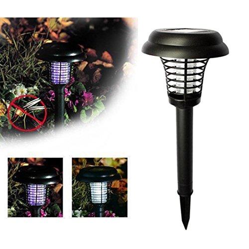 GJKK Solarbetriebene LED Licht Moskito Pest Bug Zapper Insekt Killer Lampe Garten Rasen Gegen Mücken Fliegen Moskitos insektenvernichter Mückenvernichter Umweltfreundlich (Schwarz)