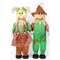 Gardenised QI003424 36 Inch Standing Scarecrow Sister and Brother Set