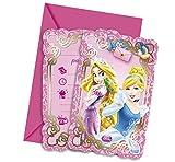 Ciao Procos 82650-Einladungskarten mit Umschlag Disney Princess & Animals, 6Stück, Pink