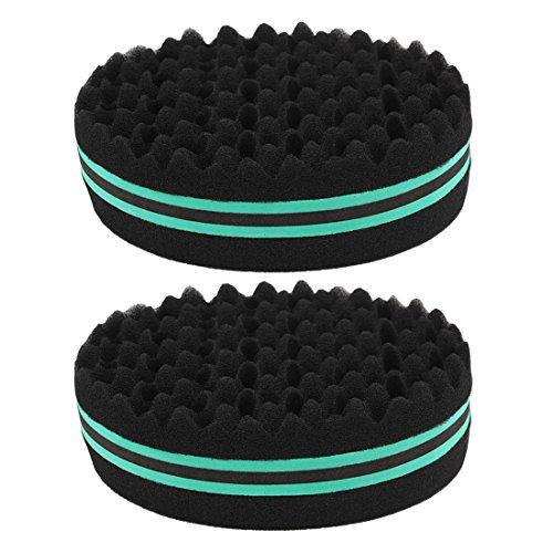 Andux Zone Double Side Twist Haar Afro Braid Stil Dreadlock Sponge Curls Schwamm 2 PCS JFHM-01 (Grün)