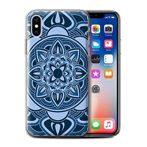 Stuff4 Gel TPU Hülle / Case für Apple iPhone X/10 / Traum/Sepia Muster / Mandala Kunst Kollektion Blütenblatt/Blau