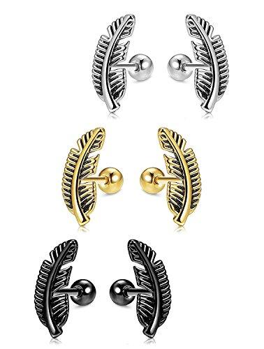 Besteel 3 paia orecchini in acciaio inox foglia per uomo donna orecchini piercing barreta cartilagine, 16g