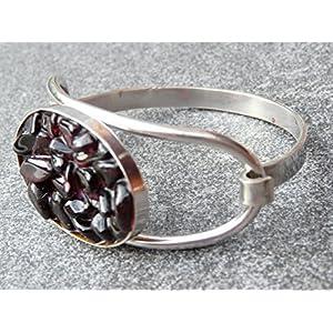 Armspange Silber mit roten Granat Steinen