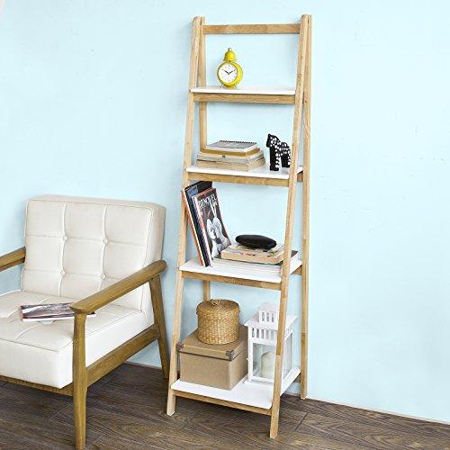 Sobuy scaffale a scala,libreria,scaffale componibile,in legno di hevea,pieghevole, frg162-n,it