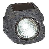 Solarstein in dekorativer rustikaler Pflasterstein-Optik aus Polyresin mit 1 weißer LED, ideal als Beleuchtung für Wege, Terrassen und Pools. Maße (HxB xT): 5,5 x 6 x 6,5 cm. Mit Ein-/Ausschalter., Farbe:grau