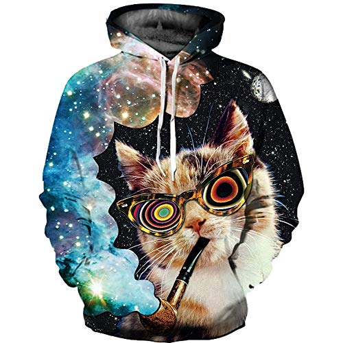 XINGMU 3D Gedrucktes Sweatshirt Hoodie Und Sweatshirt 3D Rauchende Katze Langärmliges Kleid Pullover XL