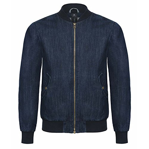 B&C Denim Herren Modern Jacke Deep Blue Denim Gr. XXX-L/ 122 cm- 127 cm, Deep Blue Denim (Bomber Distressed Brown)
