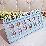 LNIMIKIY - Cornice portafoto Multifunzionale per 12 Mesi, Motivo: Il Mio Primo Anno, Decorazione per la casa, per Bambine, Ragazzi e Neonati, Souvenir in PVC