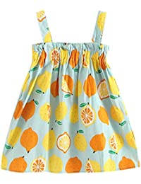 Gusspower Vestido Sin Mangas de Princesa con Estampado de limón para niños Vestido de Tirantes Niña