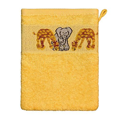 Waschlappen Ökotex100 16 x 21 cm 100 % Baumwolle Gelb Tiere -