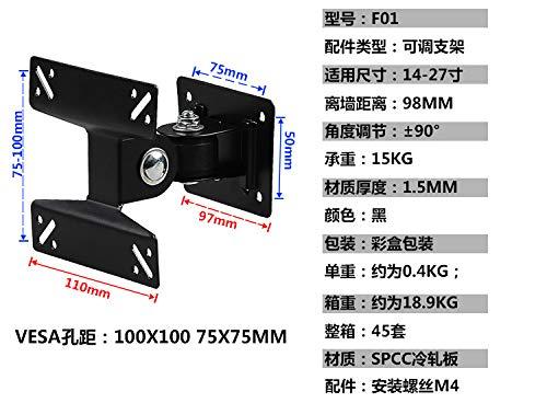 IMHERE W U Universal-gedrehter TV-Wandhalterung Schwenkhalterung Monitorständer für 14 bis 24-Zoll-LCD-LED Flat Panel Plasma TV-Halter Lcd Flat Panel
