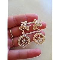 orecchini sicilia tregalo di san valentino coppia amore fidanzamento innamorati rinacria triskele simbolo significato ruote carretto siciliano ottone argento eleganti barocchi