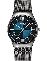 Bering  Ceramic - Reloj de cuarzo para hombre, con correa de acero inoxidable, color negro